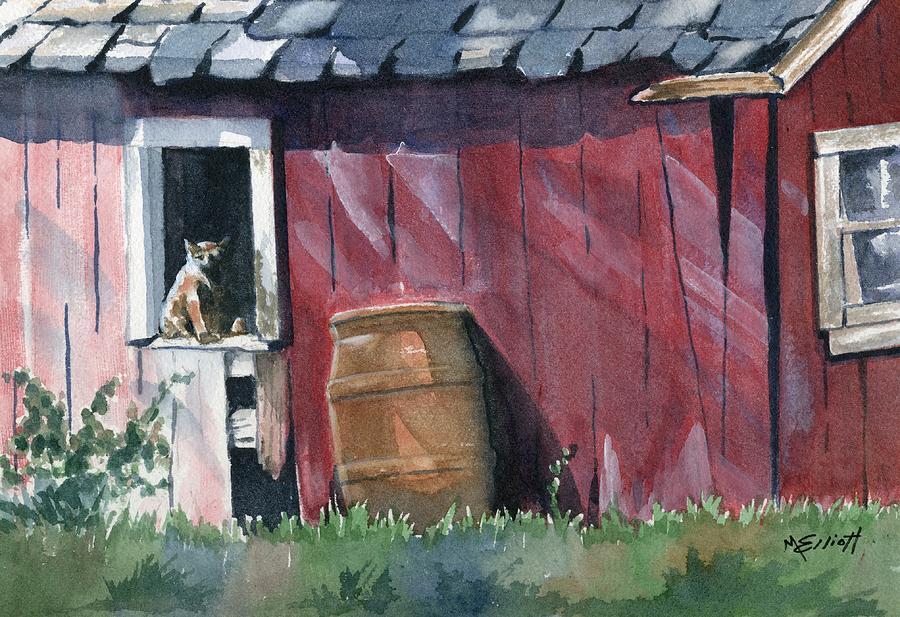 Cat Painting - Catching Some Rays by Marsha Elliott