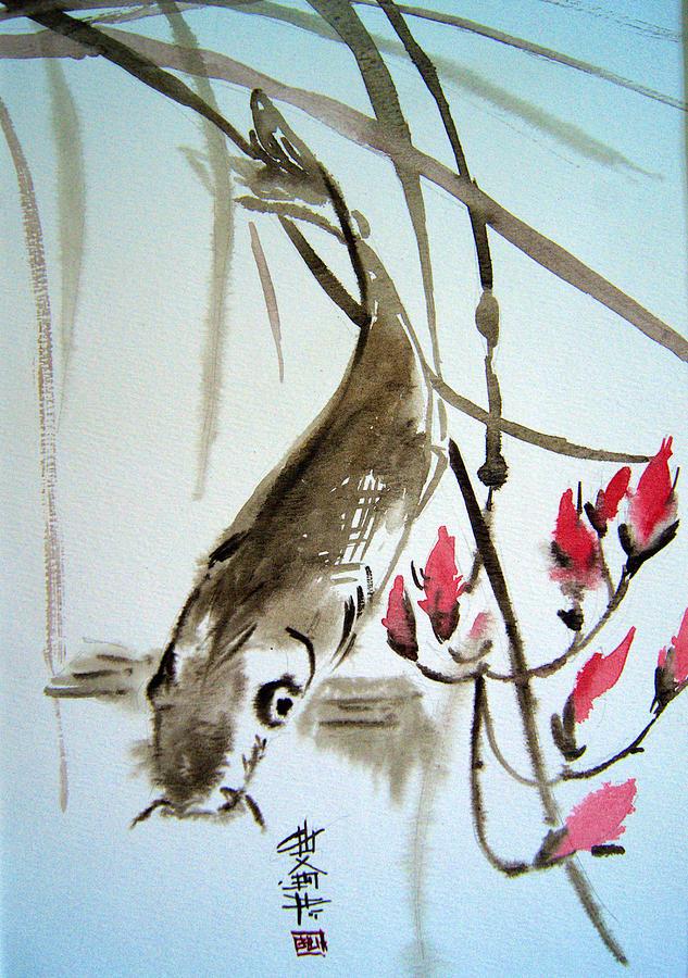Bamboo Painting - Catfish by Alena Samsonov