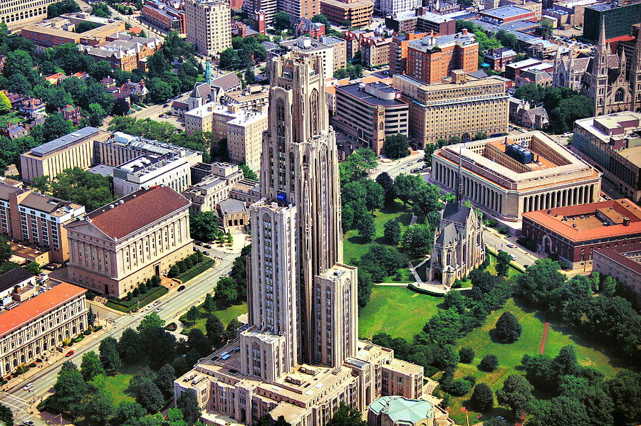 Cathedral Of Learning Photograph - Cathedral Of Learning Aerial by Pittsburgh Aerials