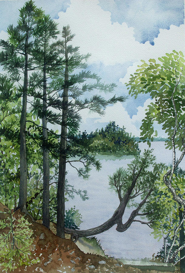 Watercolor Painting - Cathedral Point - Trout Lake by Helen Klebesadel