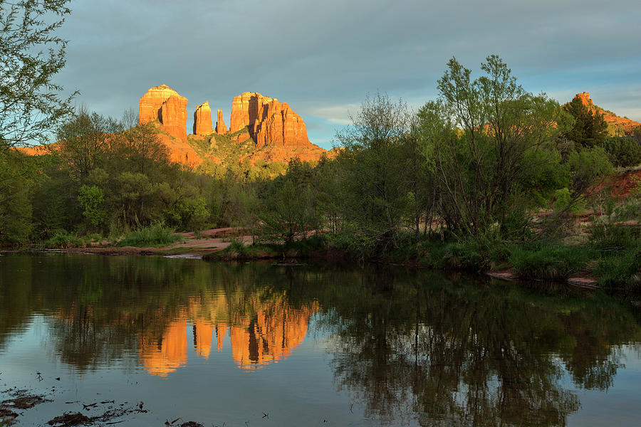Cathedral Rock Oak Creek Sunset Photograph by Picturelake