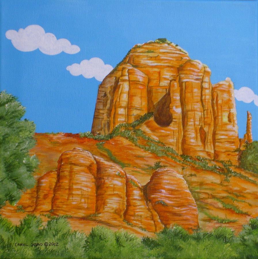 Sedona Painting - Cathedral Rock Sedona Az Left by Carol Sabo