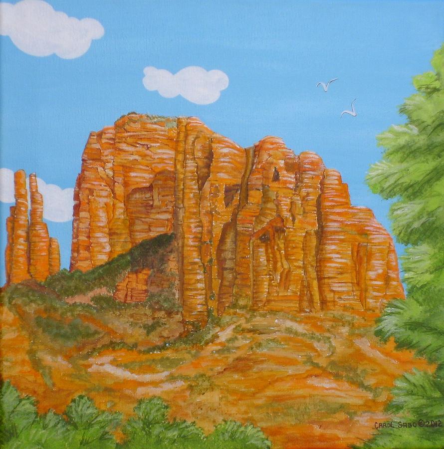 Acrylic Painting - Cathedral Rock Sedona Az Right by Carol Sabo