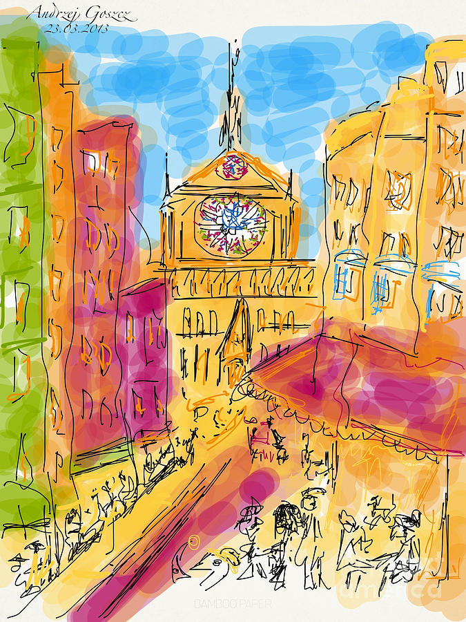 Streched Canvases  Drawing - Cathedrale Notre Dame De Paris. I Love Paris - J Adore Paris . The Young Rebels Movement. by  Andrzej Goszcz
