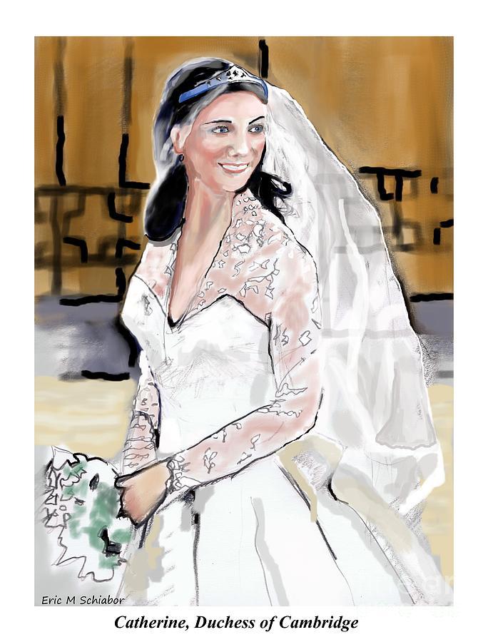 Duchess Of Cambridge Drawing - Catherine Duchess Of Cambridge Print  by Eric  Schiabor