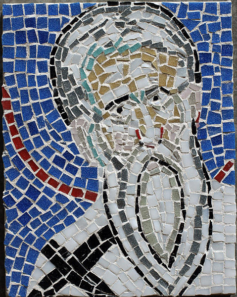 Italy Glass Art - Catholic Priest Detail From A Larger Mosaic From Ravenna Italy by Azalea Martin