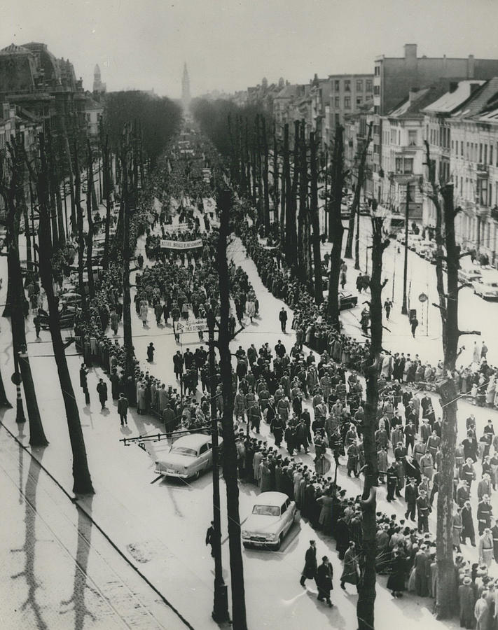 Retro Photograph - Catholics March In Antwerp.. Parade Ends Two Weeks Easter by Retro Images Archive