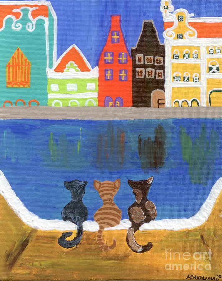 Curacao  Painting - Cats Enjoying The View by Melissa Vijay Bharwani