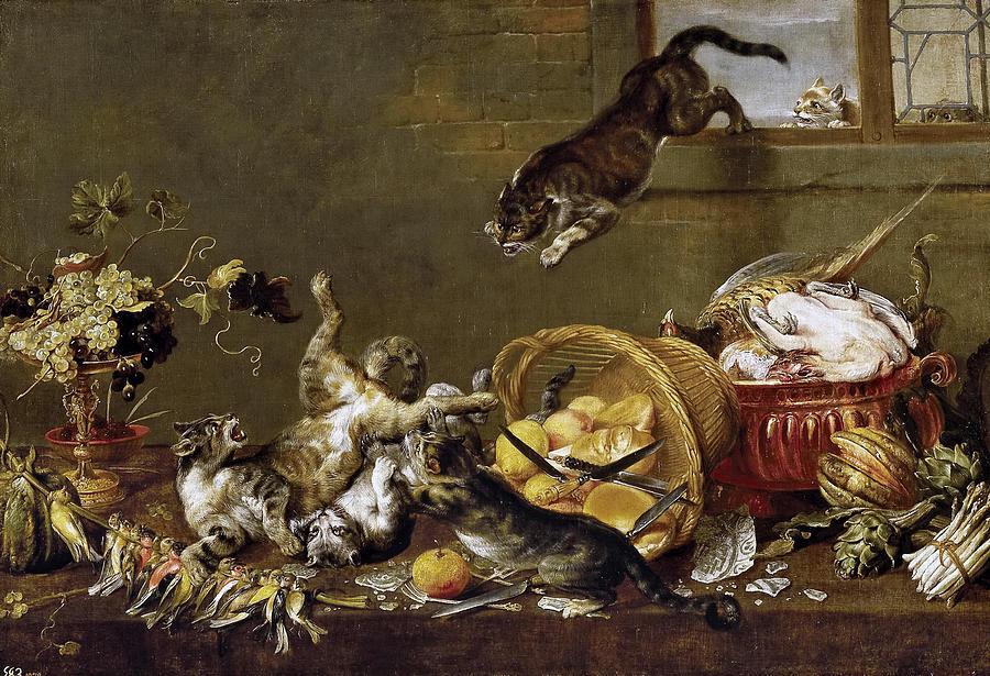 Paul De Vos Painting - Cats Fighting In A Larder by Paul de Vos