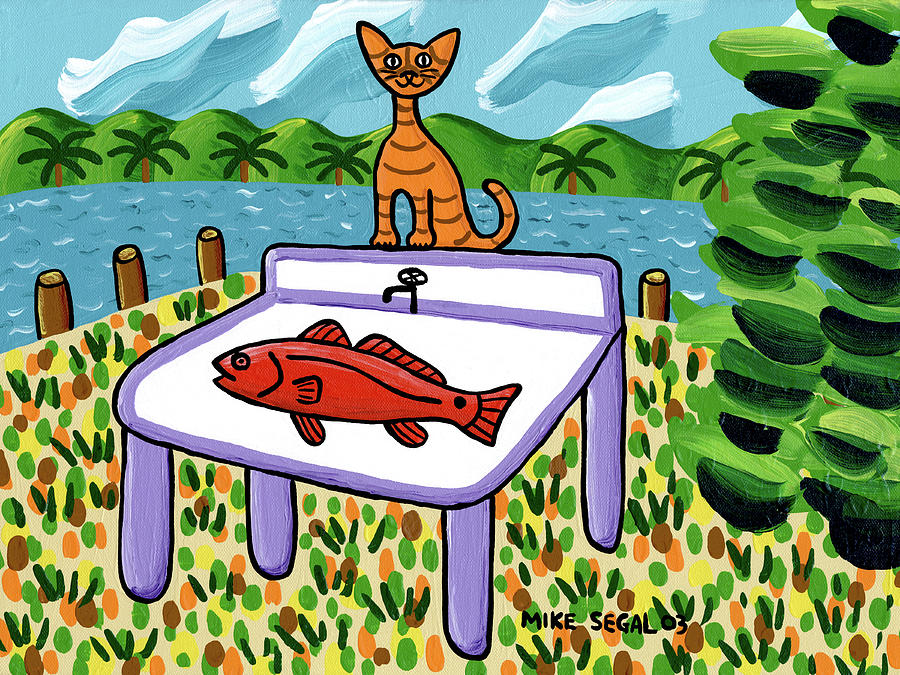 Cat Painting - Cats Fish - Cedar Key by Mike Segal
