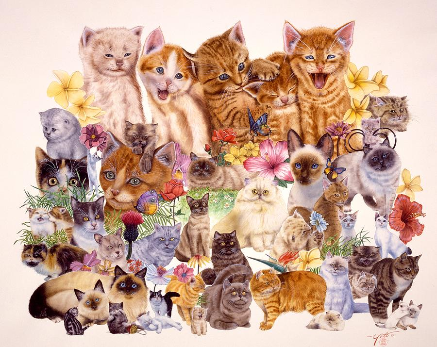 Domestic Cats Painting - Cats by John YATO