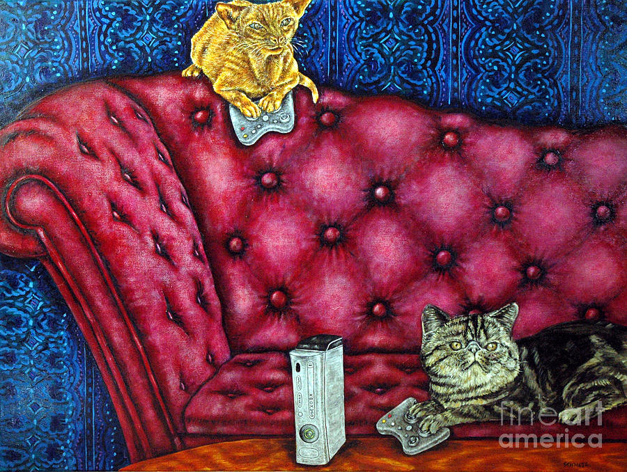 Ginger Cat Painting - Cats Playing X Box by Jay  Schmetz