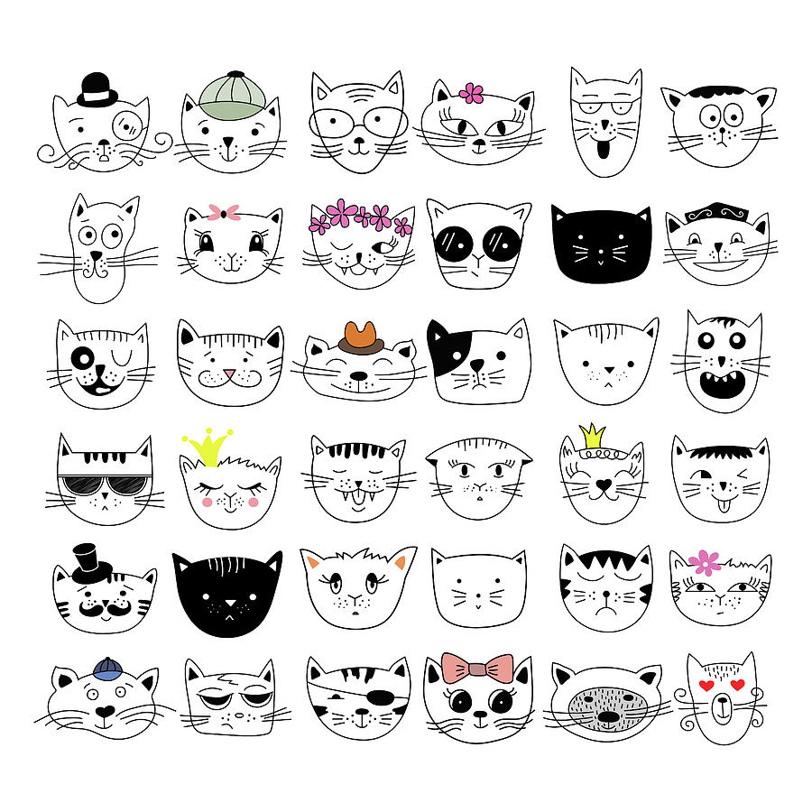 Cats, Set Of Cute Doodle Digital Art by Alona Savchuk