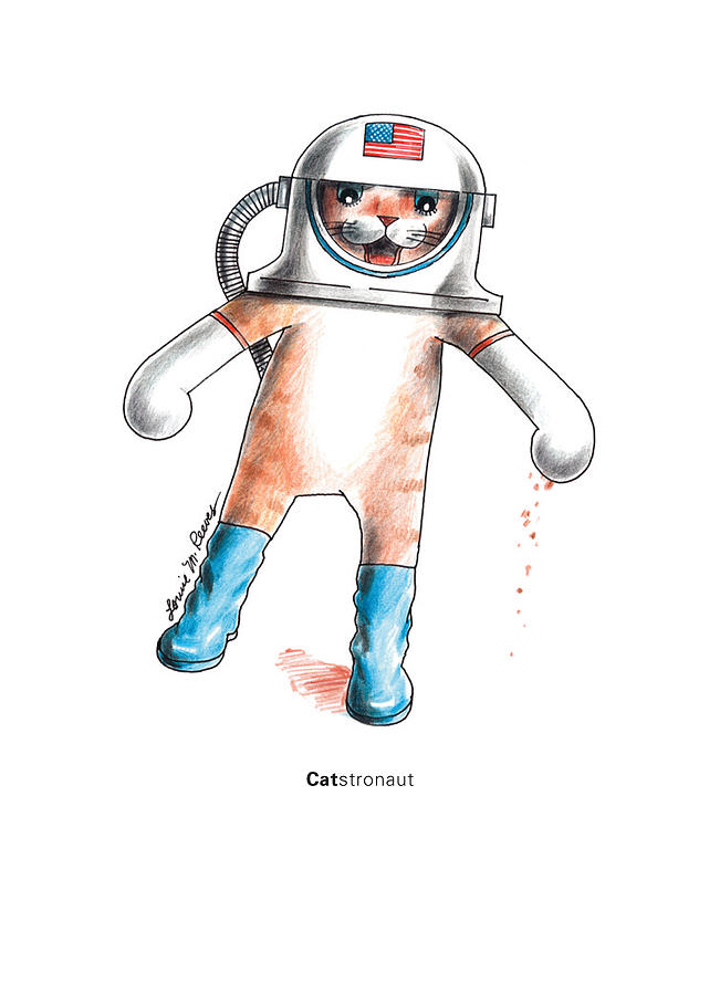 Cat Drawing - Catstronaut by Louise McClain Reeves