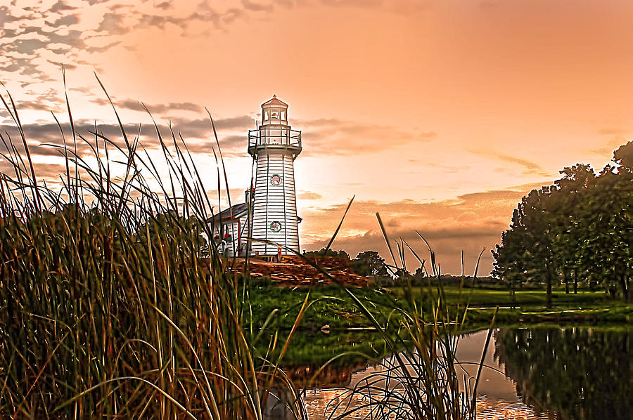 Lighthouse Photograph - Cattails And Lighthouse In Indiana by Randall Branham