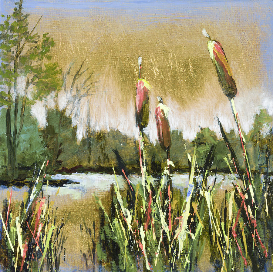 Cattails At Forest Park Painting by Vic Mastis