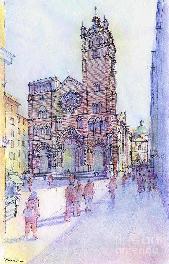 Drawing Drawing - Cattedrale Di S. Lorenzo A Genova by Luca Massone
