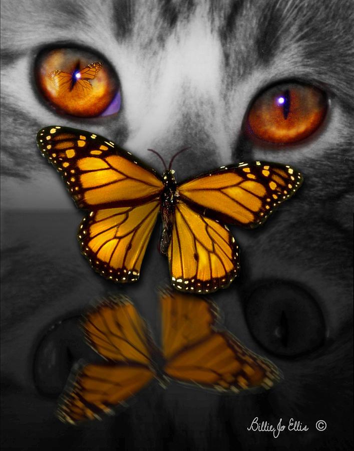 Cat Digital Art - CatterFly by Billie Jo Ellis