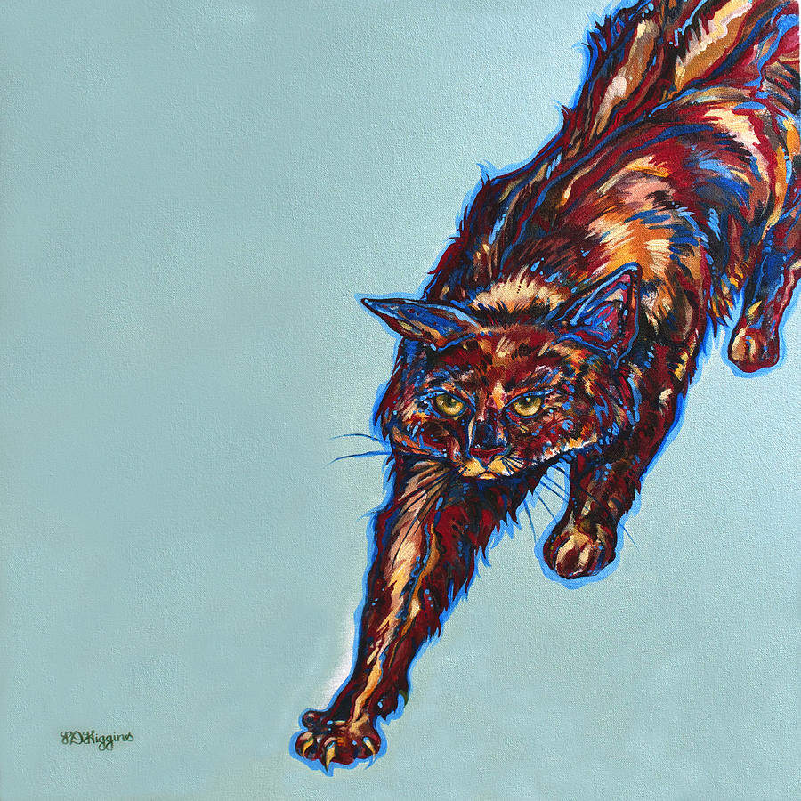 Cat Painting - Cattitude by Derrick Higgins