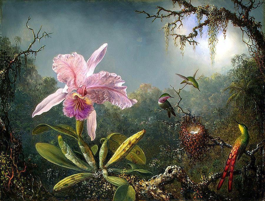 Emile Munier Digital Art - Cattleya Orchid And Three Brazilian Hummingbirds by Emile Munier