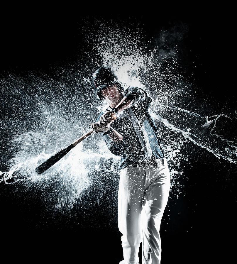 Caucasian Baseball Player Splashing In Photograph by Erik Isakson