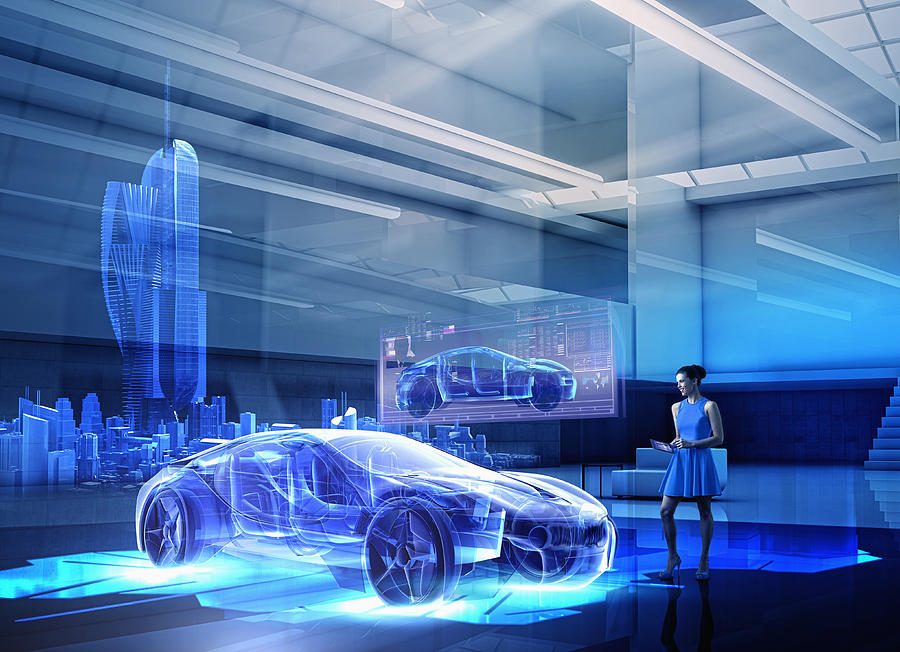 Caucasian woman examining hologram of car Photograph by Colin Anderson Productions pty ltd