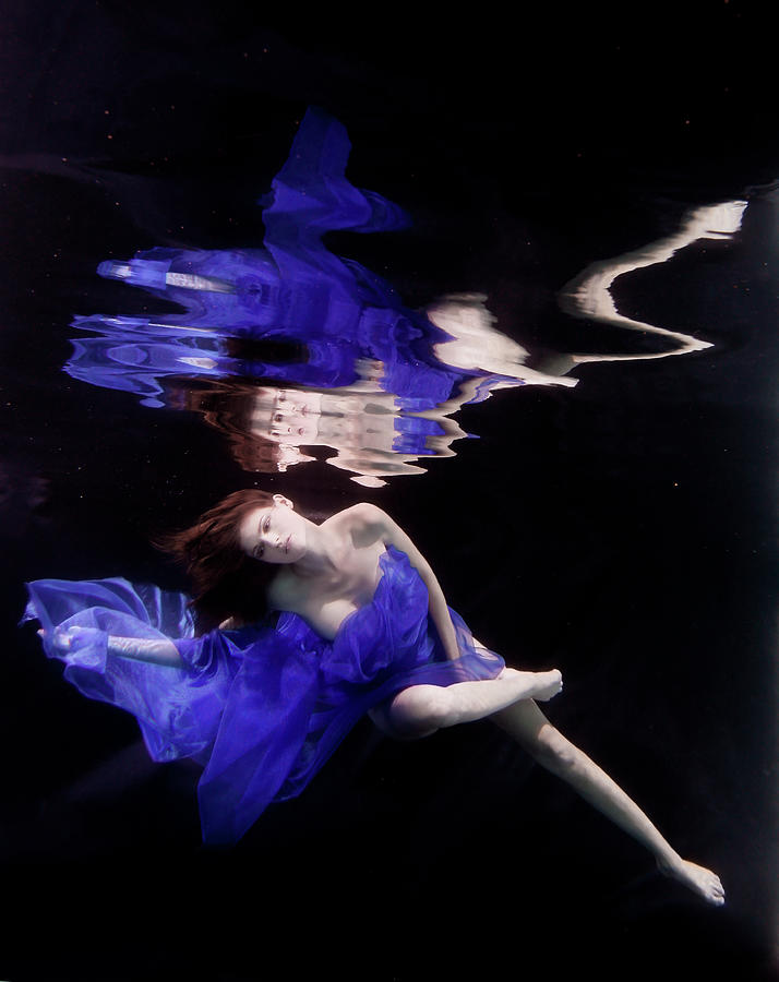 Caucasian Woman In Dress Swimming Under Photograph by Ming H2 Wu