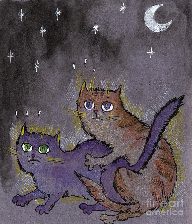 Cat Drawing - Caught In Act by Angel  Tarantella