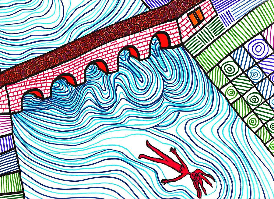 Markers Drawing - Caught In The Current by Sarah Loft