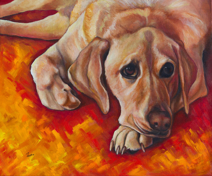 Golden Lab Painting - Caught Off Guard by Eve  Wheeler