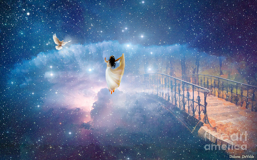 Rapture Dove Heaven Bridge  Digital Art - Caught Up by Dolores Develde
