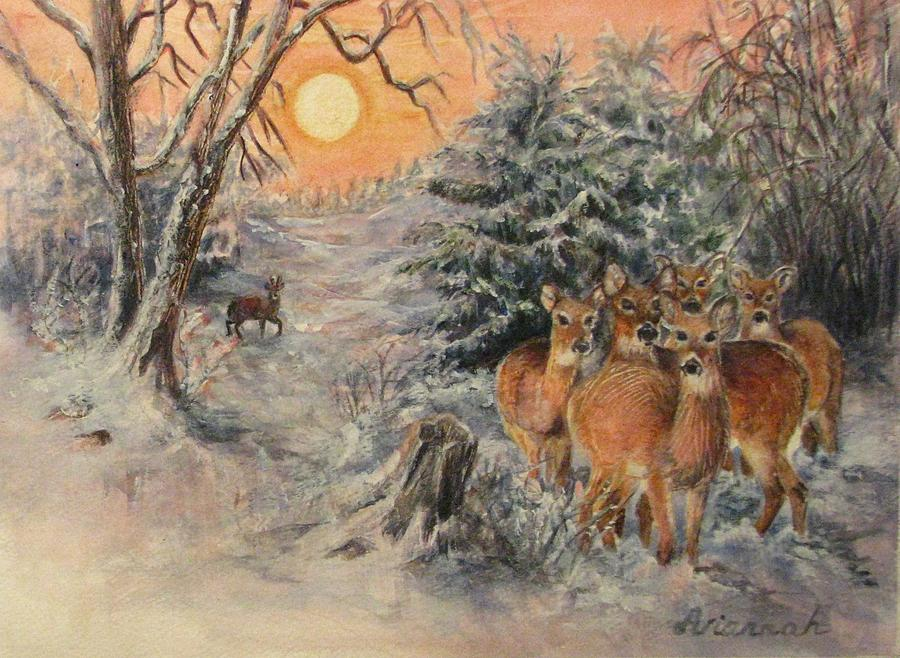 Deer Painting - Caution And Curiosity by Ursula Brozovich