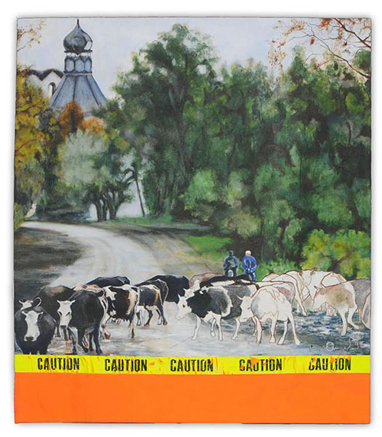Bucolic Painting - Caution by Angel Diaz