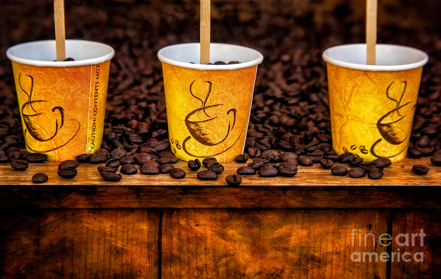 Coffee Beans Photograph - Caution... Contents Hot by Susan Candelario