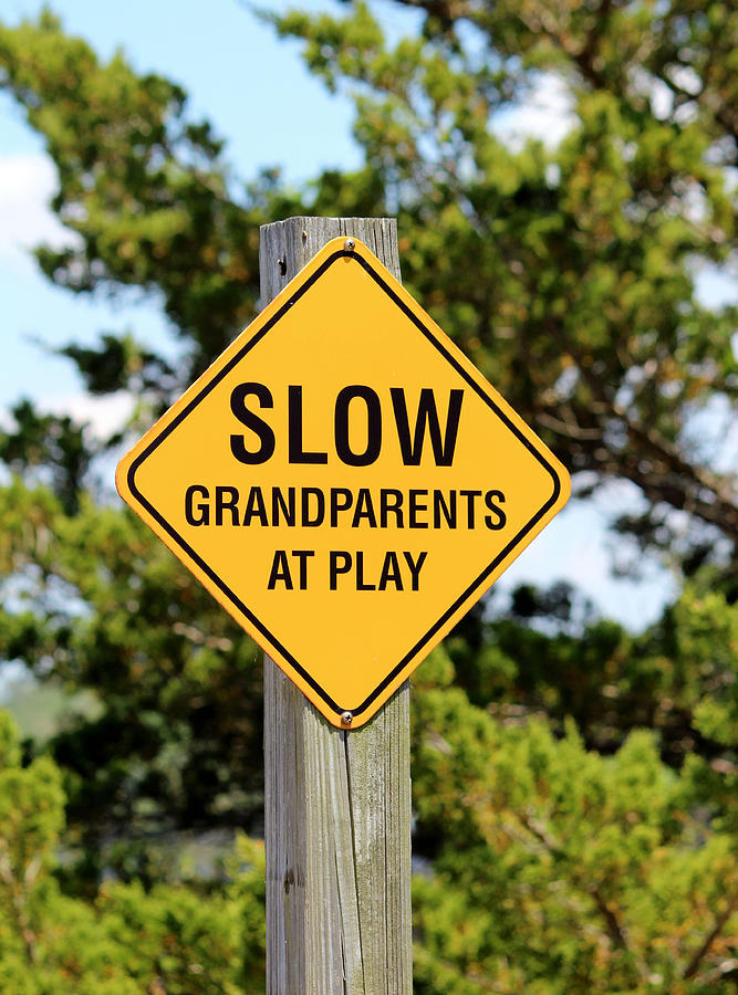 Grandparent Photograph - Caution Sign by Cynthia Guinn