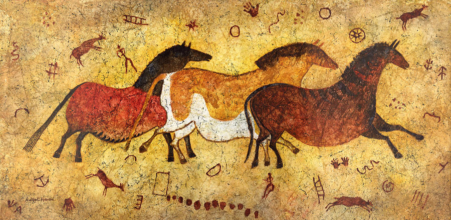 Cave Painting - Cave Horses by Hailey E Herrera