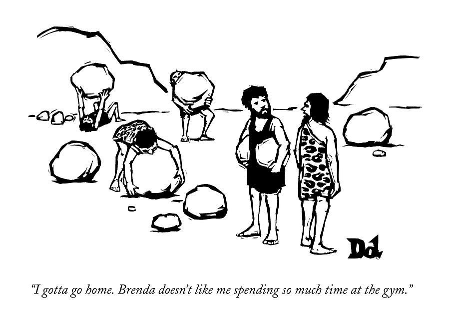 Cave Men Lift Giant Boulders Drawing by Drew Dernavich