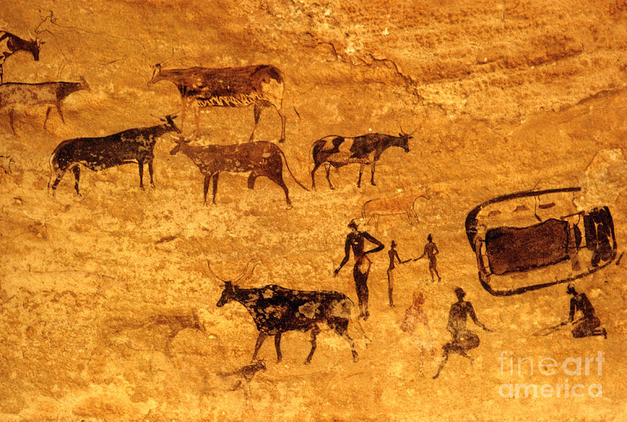 Archaeology Photograph - Cave Painting South Algeria by George Holton
