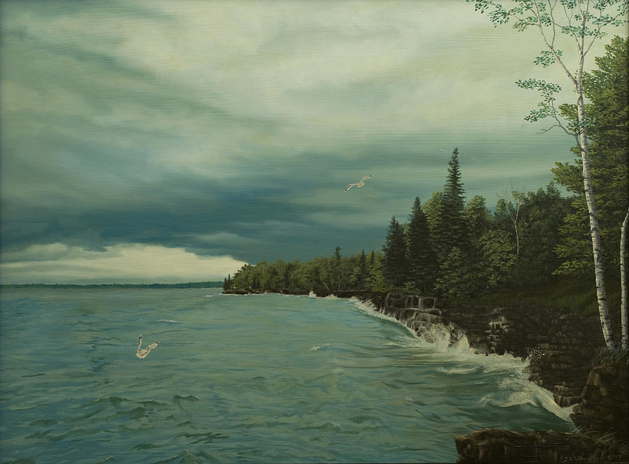 Lake Michigan Painting - Cave Point by James Willoughby III