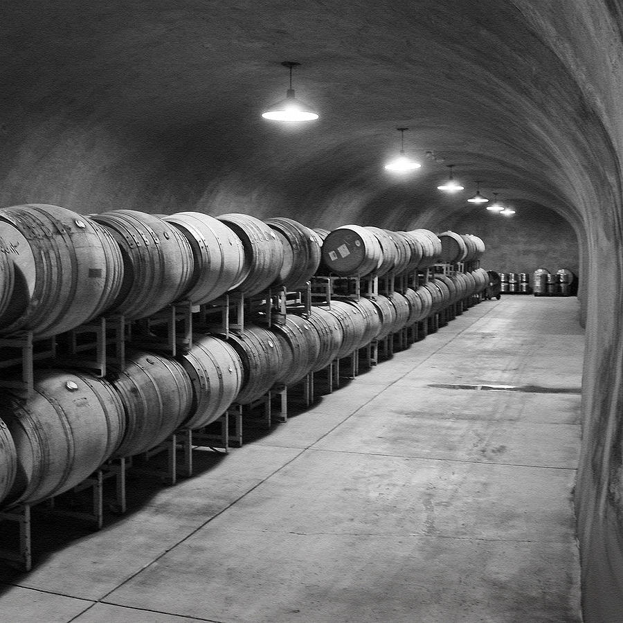 Wine Photograph - Cave Storage Of Wine Barrels by Kent Sorensen