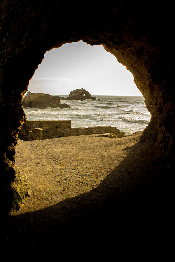 Cave Photograph - Cave View Of Rocks Near San Francisco Ca Cliff House by Glen Matthew Laughton