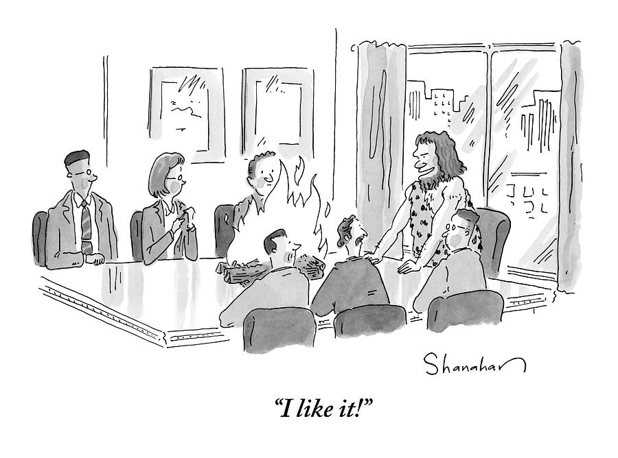 Caveman Stands At Head Of Table In Boardroom Drawing by Danny Shanahan