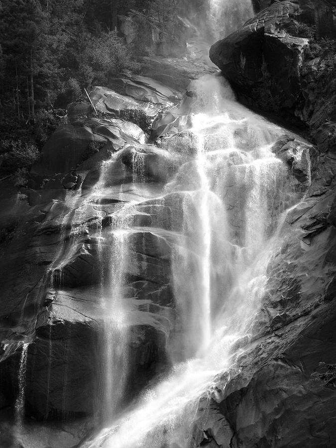 Cavern Waterfall - Shannon Falls, British Columbia - Black And White Photograph