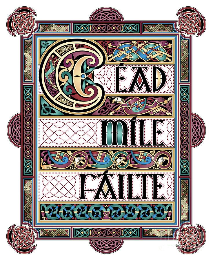 Celtic Painting - Cead Mile Failte by Cari Buziak