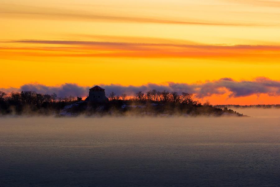 Cedar Photograph - Cedar Island Morning Mist by Paul Wash