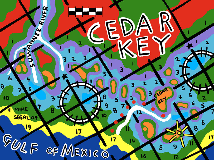 Cedar Key Painting - Cedar Key Chart by Mike Segal