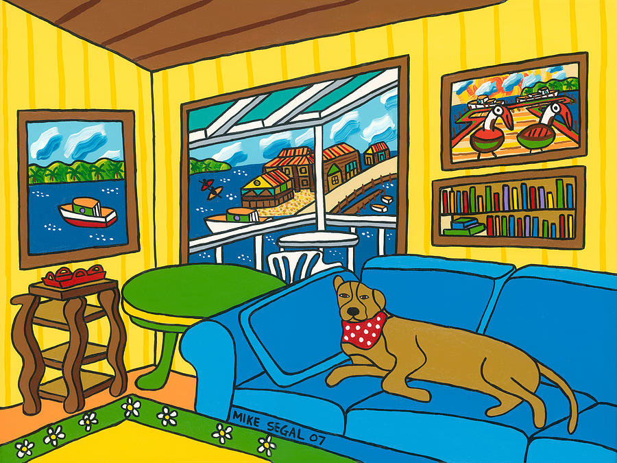 Dog Painting - Cedar Key Snoozer by Mike Segal