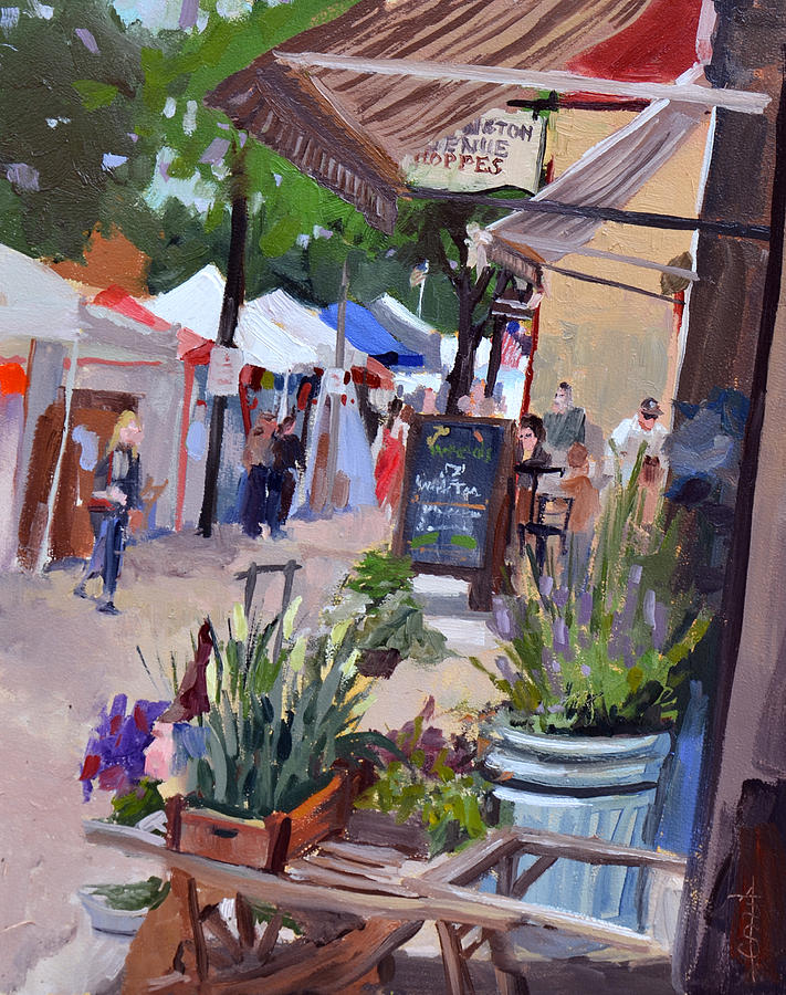 Oils Painting - Cedarburg Strawberry Festival by Anthony Sell