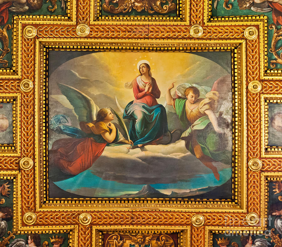 Ceiling Photograph - Ceiling Fresco At The Basilica Of St. Bartholomew On The Island by Luis Alvarenga