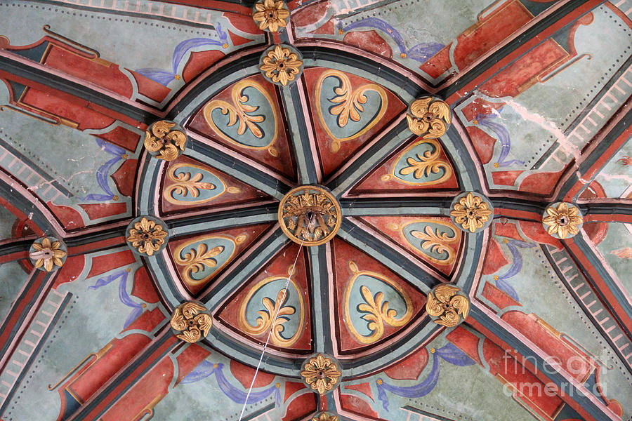 Colonial Photograph - Ceiling Medallion Tepoztlan by Linda Queally